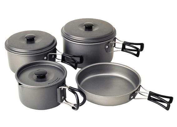 Trekking-Geschirrset, Aluminium, eloxiert, 8 teilig