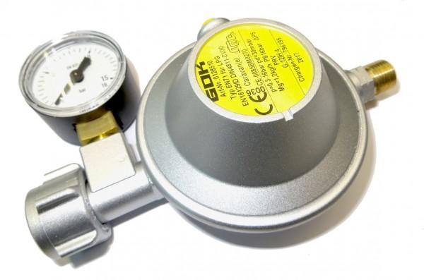 Caravanregler Typ EN71 30 mbar 1,2 kg mit Manometer